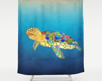 Sea Turtle Shower Curtain   Watercolor Art, Sea Turtle, Surf, Beach,  Undersea