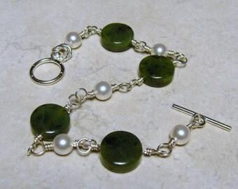 Sterling Silver Canadian Jade Bracelet