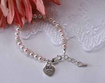 "Sterling Silver ""Big Sis"" Bracelet with Swarovski Pearls and Big Sis Charm with Gift Box for Big Sister Gift for Girls (010)"