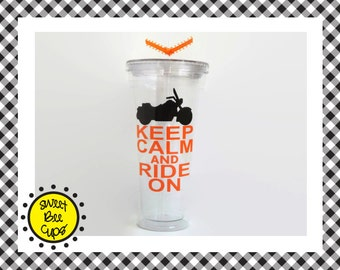 Personalized Acrylic Cup Md - Keep Calm and Ride On -Motorcycle Riders, Bikers, Harleys, Fathers Day Gift, Dad Gift Medium 16oz. Acrylic Cup