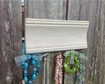 Jewelry organizer - necklace holder - shabby chic decor - beige