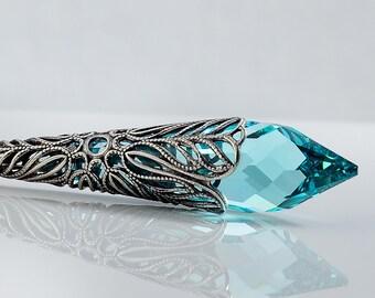 Aqua Icicle Crystal Necklace, Swarovski Necklace, Antique Green Sterling Silver Necklace, Victorian necklace, Antique Silver, Rainbows