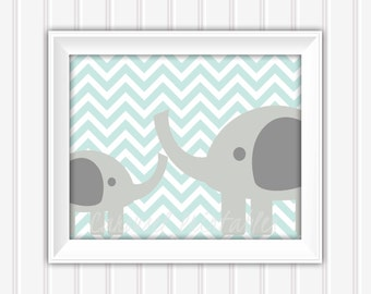 Elephant Wall Art, Blue and Gray Art, Printable Wall Art, Instant Download,Childrens Wall Art, Kids Wall Art, Nursery Wall Art, DIY Wall Art