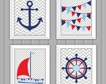 Nautical Wall Art Set, Nautical Decor, Instant Download, Childrens Wall Art, Kids Wall Art, Nursery Wall Art, DIY Wall Art