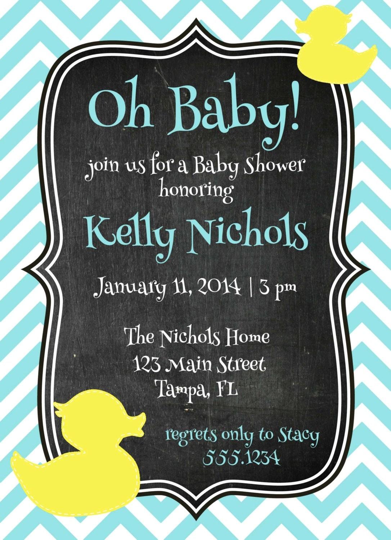 Rubber Ducky Baby Shower Invitation, Rubber Ducky Invitation, Rubber Duck  Baby Shower,Neutral Baby Shower, Chevron Invitation, DIY Printable