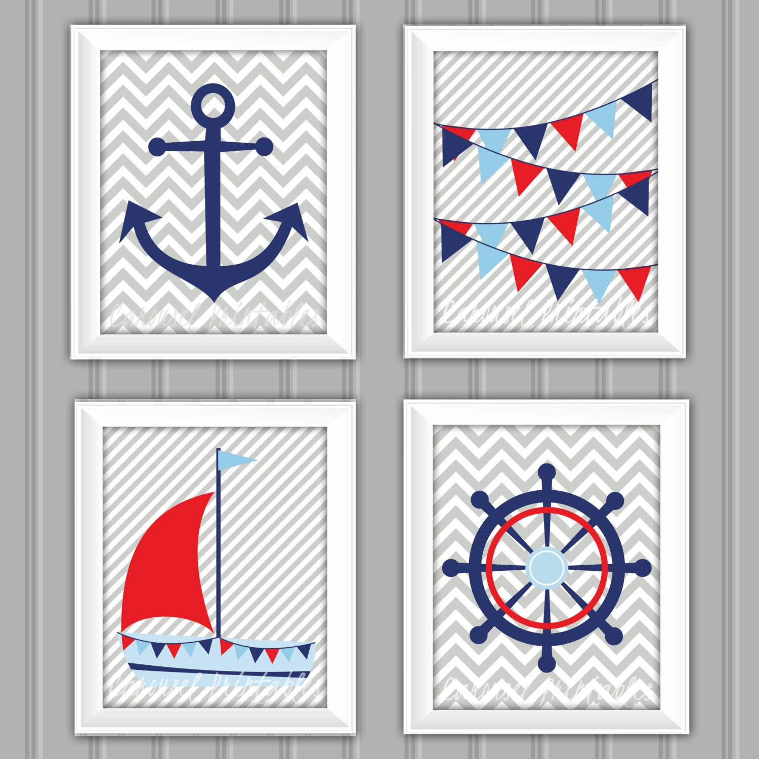 Nautical Decor Images: Nautical Wall Art Set Nautical Decor Instant Download