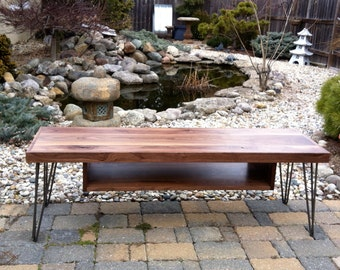 Walnut Bench with Storage Shelf and hairpin Legs, Solid wood bench, Mid century modern, Solid Walnut, Bench hairpin legs