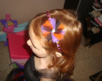 Halloween inspired ribbon covered headband with removable tulle clip
