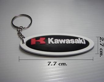 KAWASAKI Racing Rubber Keychain / Keyring #1.