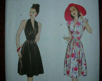 Retro 1947 Halter Flared gathered skirt dress Butterick B5209 Sewing Pattern Size 6-12 Uncut Not Used