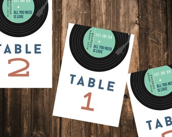 Record Table Number // DIY Printable // Wedding Decor, Musical Wedding, Modern Wedding Decor