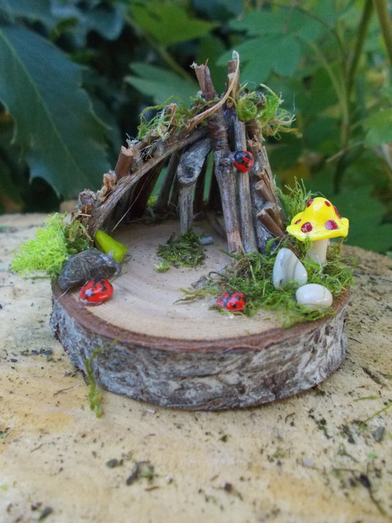 Miniature fairy garden oasis shelter for desktop by fairyelements - Vertical gardens miniature oases ...