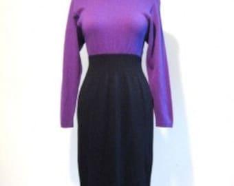 Vintage St JOHN by Marie Gray Stretchy Sweater PuRpLe bLaCk knit Dress mock neck two tone Sz 4