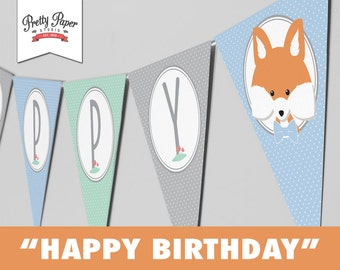 Happy Birthday Banner - Woodland // INSTANT DOWNLOAD // Mint, Blue, and Gray // Boy Party Bunting // Fox & Deer Decor // Printable BP01