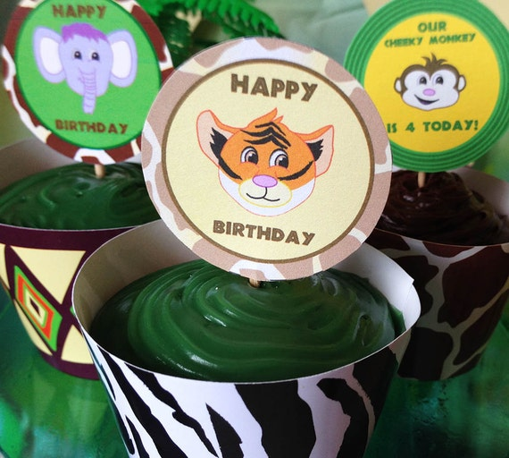 Jungle/Safari Personalised Baby Animals CUPCAKE Toppers - PRINTABLE - PDF - Digital