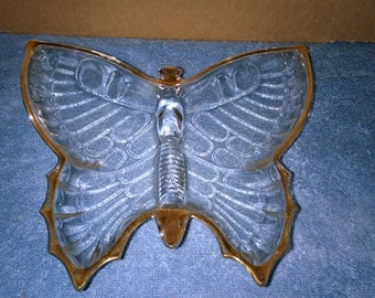 Vintage Glass Butterfly Candy Dish