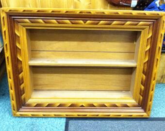 Unique inlaid wood shelf shadow box handmade