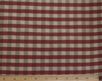 "Gold/Wine Taffeta Checks 100% Silk Fabric, 54"" Wide, By The Yard (SD-708)"