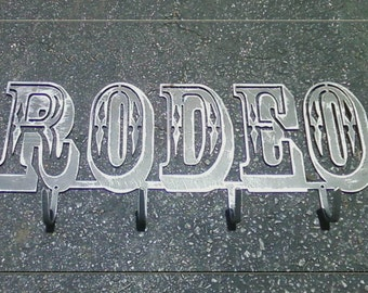 Rodeo Metal Art Sign with Hooks