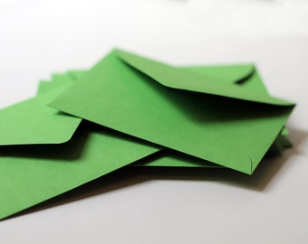 "25 Mini Green Envelopes - 2.6875 x 3.6875 inches (2 11/16"" x 3 11/16"")  - Guest Book Envelopes, Favor Envelopes, Placecard Envelopes"