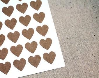 108 Mini Kraft Brown Heart Envelope Seals - .75-inch Heart Labels - 3/4 inch Heart Labels
