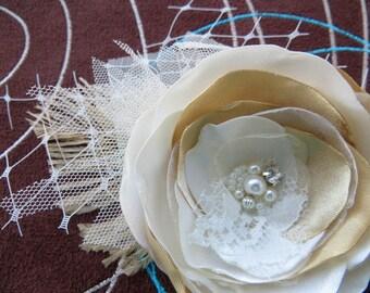 Ivory, gold bridal hair flower, vintage, rustic bridal hairpiece, bridal hair clip, wedding hair flower, wedding hair accessories