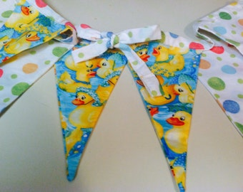 Ducky Fabric Flag Banner, Bunting, Eco-Friendly Decoration