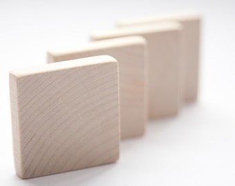 """10 pcs unfinished 1 3/4"""" (4,5cm) Wood Squares for wood crafts, wooden supplies"""