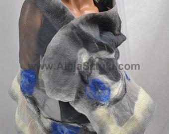 Felted Art scarf Wrap Shawl Wool Merino, Silk. Organic natural eco materials Gray and white shadow Nuno felting,