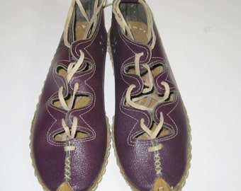 Turkish Yemeni Organic Hand Made Genuine Leather Shoes purple 34 to 47