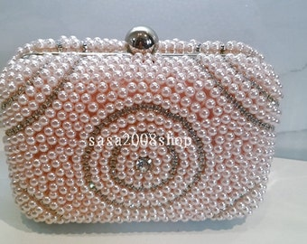 Pink ~(4)New Style ~Handmade Pearl Bridal Evening Clutch Bag