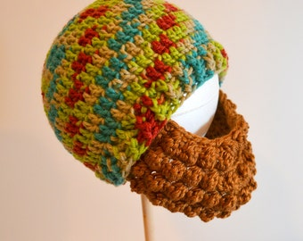 Multicolor Toddler Beard Beanie, Boys Winter Hat, Red Blue Green Colors, Made to Order, Choose your beard color
