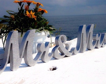 mr and mrs wedding signs - Glitter Mr. & Mrs. letters wedding table decoration, freestanding Mr and Mrs signs for sweetheart table