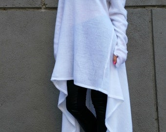 White Asymmetrical Sweater Dress / Oversize Unique Tunic Top /  Women Knitted Sweater Top / Loose Dress / EXPRESS SHIPPING /  MD 10014