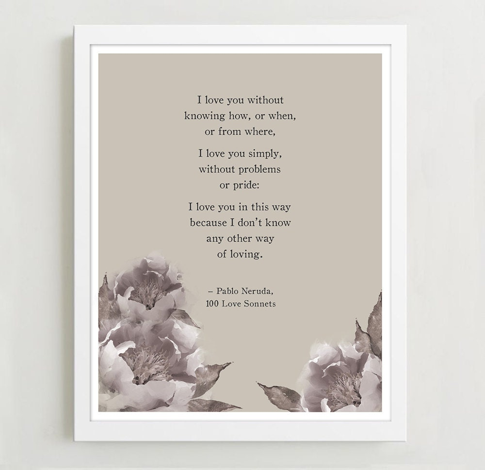 Pablo Neruda Love Poem With Watercolor Peonies Poetry Print