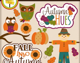 Autumn Clip Art- Autumn Clipart - Cute Digital Clipart - Personal Use - Commercial Use - Card Design, Scrapbooking, and Web Design