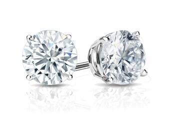 14k Gold 4-Prong Basket Round Diamond Stud Earrings 1.00 ct. tw. (G-H, VS2)