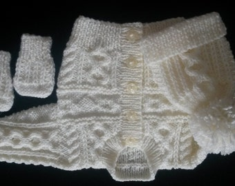 0-3, 3-6, 6-12 months, and 1-2 yrs baby aran pattern cardigan/jacket with matching hat and mitts