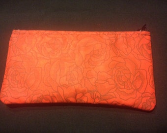 Stenciled Red Roses Pencil Case / Zipper Pouch - LIMITED QUANTITY!!! #91