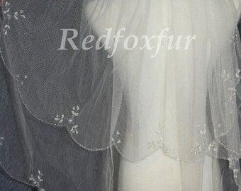 2T Bridal Veil, hand-beaded wedding veils, bridal veil flounced