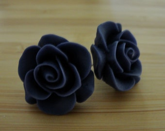 Large Dark Purple Flower Earrings