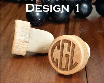 Monogrammed Engraved Wood Wine Stopper for Weddings, Bridal Shower, Newlywed Couple Gift, Anniversary, and Parties(Qty 15 or more)