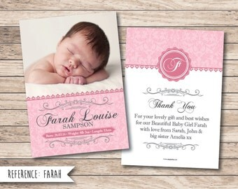 Birth / Baby Announcement - Personalised Baby Thank You Card - Printable File - Digital Download - New Baby - Baby Stats