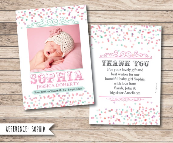Baby Gift Announcement : Birth announcement personalised baby thank you card