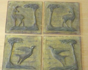 60s vintage wooden bas-reliefs, wooden panels of artist unknown 8.87X9.06 inch