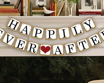 Bridal Shower Decorations - Bridal Shower Banners - Happily Ever After Banner - Wedding Garland - Sign - Photo Prop