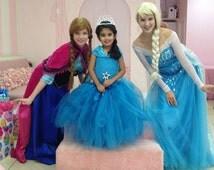Queen Elsa Inspired Long tutu dress with Cape/ FROZEN