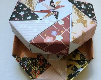 Hand made origami octangular modular box 13 cm diameter x 3 cm deep
