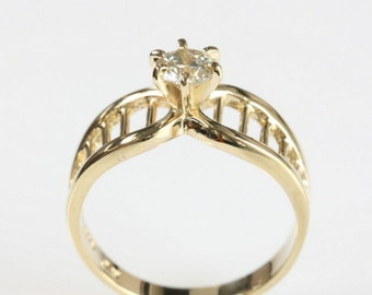 Solitaire diamond Ring 0.30 ct-Solitaire engagement ring-Wedding band-Promise ring-Bridal Jewelry-Wedding & Engagement-For her-Gold ring