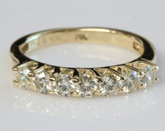 1/2 carat Eternity wedding band, Diamond wedding band, Diamond Engagement Ring, Anniversary present  14K Yellow Gold Ring,